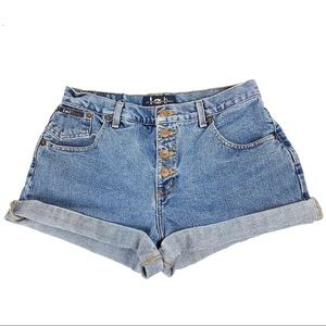 l.e.i. Vintage Denim High Waisted Mom Shorts Sz 13